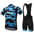 Летний мужской комплект из Джерси для велоспорта, нагрудник с коротким рукавом, синий Камуфляжный узор, одежда для велоспорта, велосипед, бы...
