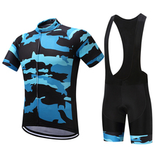 Summer Mens Cycling Jersey Set Bib Short Sleeve Blue Camouflage Pattern Clothing Bike Bicycle Quick Dry Roupa Cyclist