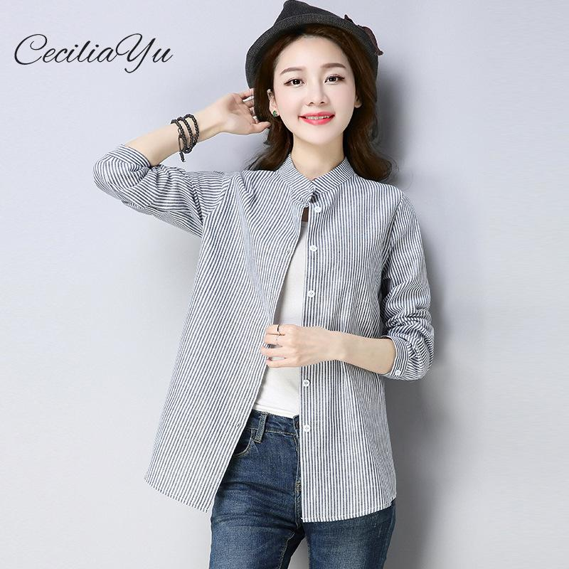 Spring 2019 New Loose Comfortable Cardigan Cotton Linen Long Sleeve Striped Collar Lady's Shirt Bohe Blouses For Women