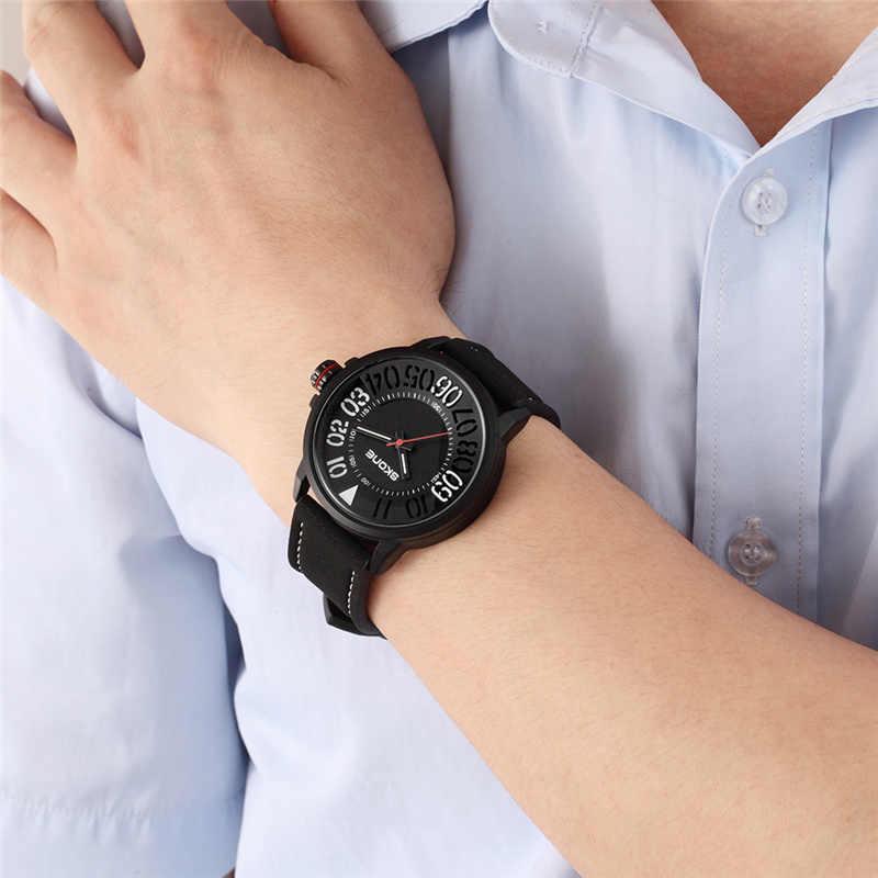 Skone moda Casual relojes de pulsera para hombre de cuero PU reloj deportivo de cuarzo masculino diseño de números grandes reloj de lujo para hombre erkek kol saati