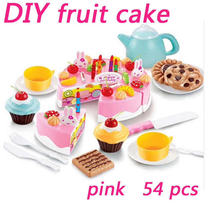 LWKO 54Pcs DIY Pretend Play Fruit Cutting Birthday Cake Cream Tea Set Kitchen Food Toys Pink  Cookware Sets For Girls birthday cake