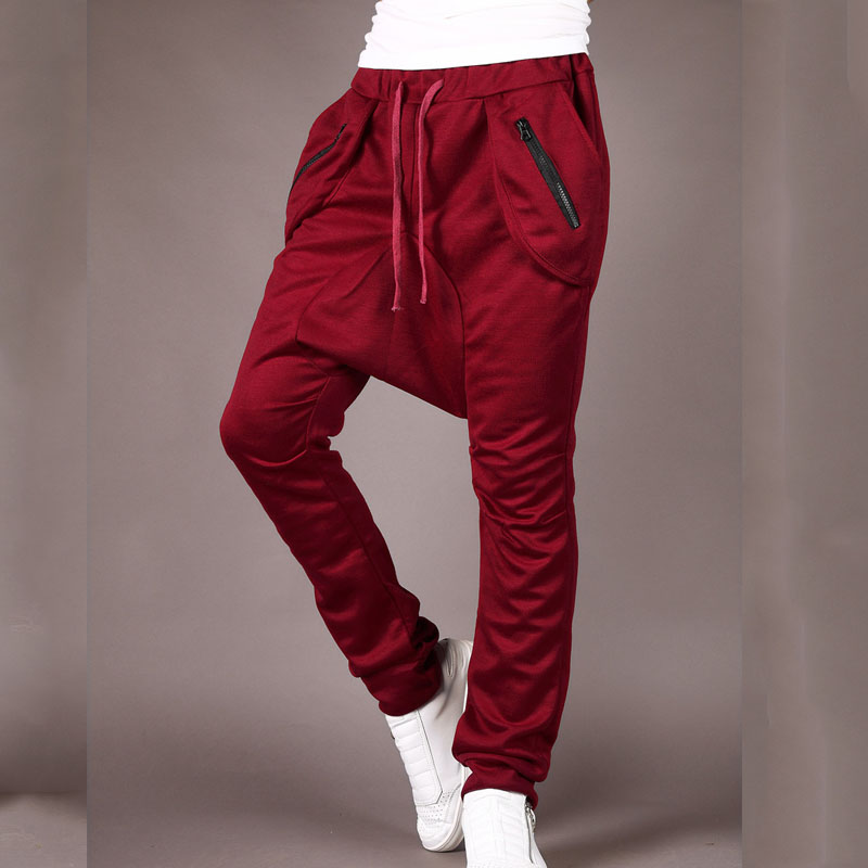 Top Quality 2020 Fashion Casual Men Harem Hip Hop Loose Streetwear Zipper Pocket Low Crotch Pants Pantalones Hombre