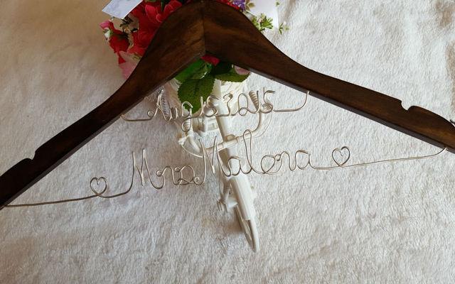 Personalization of handmade name, real wood wedding dress hangers ...
