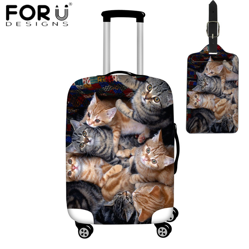 FORUDESIGNS Cute 3D Selfie Cat Print Luggage Protective Covers Waterproof Travel Suitcase Cover For 18-32 Inch Case Elastic Dust