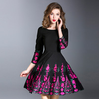 Iadoaixnal Black Purple Slim Casual A Line O Neck Wrist Sleeve Women Dress Elegant Evening Party