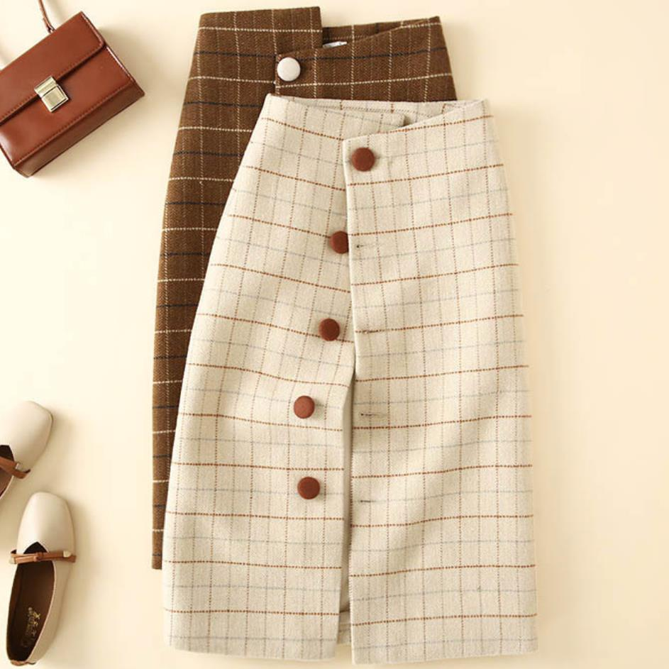 Women Woolen Plaid Pencil Skirt Hight Waist Celebrity Lattice Retro Female Fashion Single Breasted Skirt