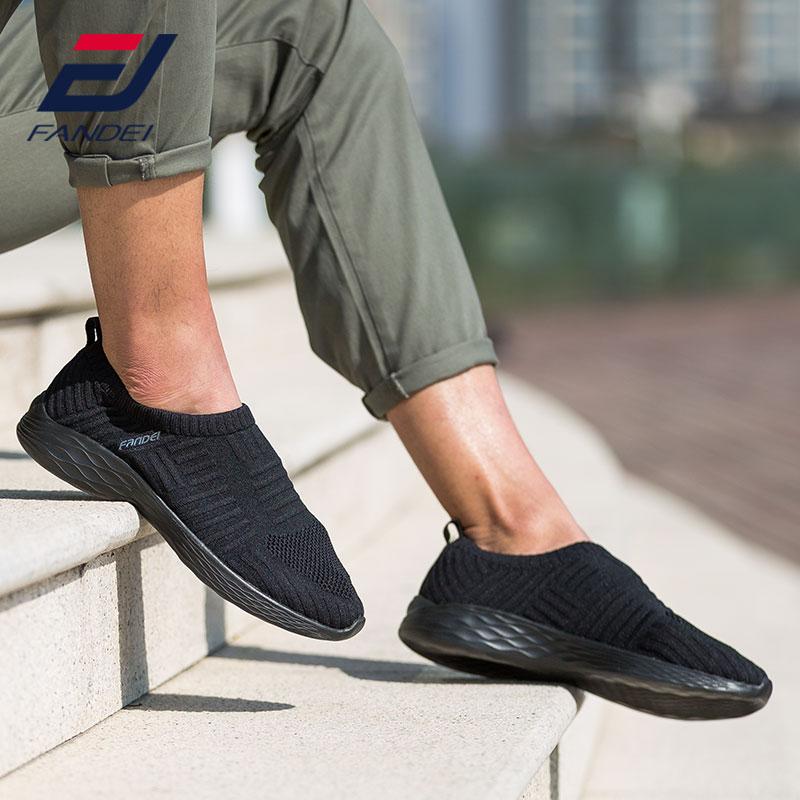 FANDEI running shoes for men breathable mesh sport shoes men light men sneakers slip-on walking jogging shoes men cushioning
