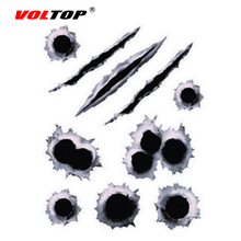 VOLTOP 3D Bullet Holes Scratch Car Stickers Paint Surface Cover Car-styling Reflective Strips Motorcycle Auto Sticker Decal Film