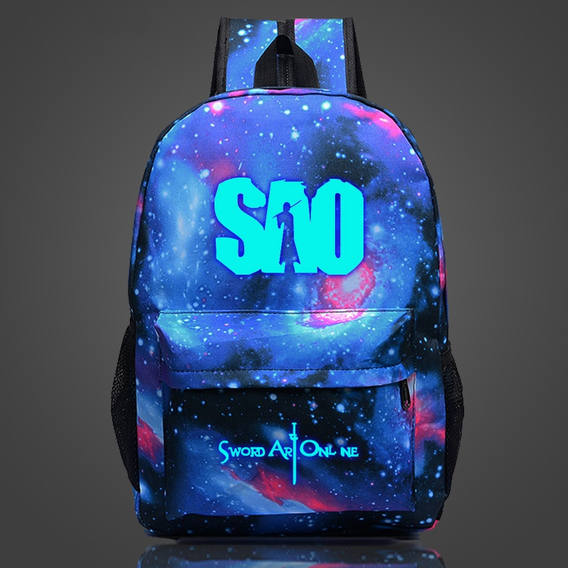 Game SAO Luminous Backpack Middle School Student Casual Printing School Bag 18'' High Capacity Travel Rucksack  Wholesale