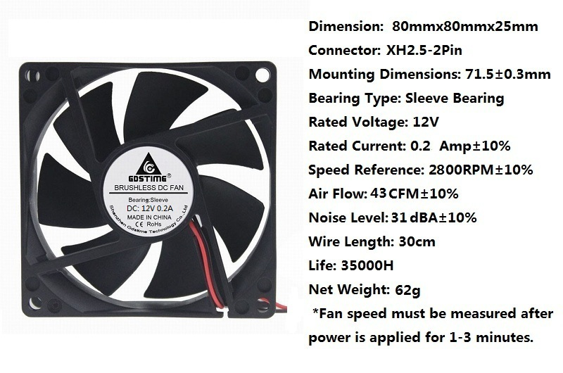 NEW 80mm*25mm Ball Bearing Tower Computer Cooling Case Fan 3pin ATX {4LED WHITE