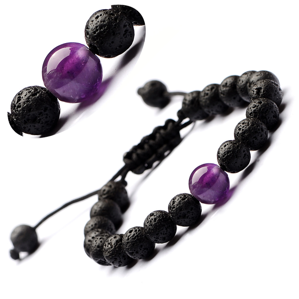 <font><b>Bracelet</b></font> Volcanic stones drop fine <font><b>hand</b></font> strings of natural onyx amethysts for women men image