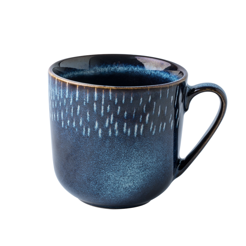 Personality Vintage Blue Abstract Traditional Ceramic Cup Fashion color glazed ceramic milk mugs