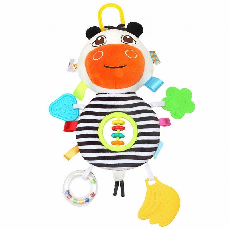 Baby Kinderwagen Hängen Puppe Rasseln Abacus Bett Glocke Beißring Plüsch Cartoon Kuh Infant Spielzeug Yh-17