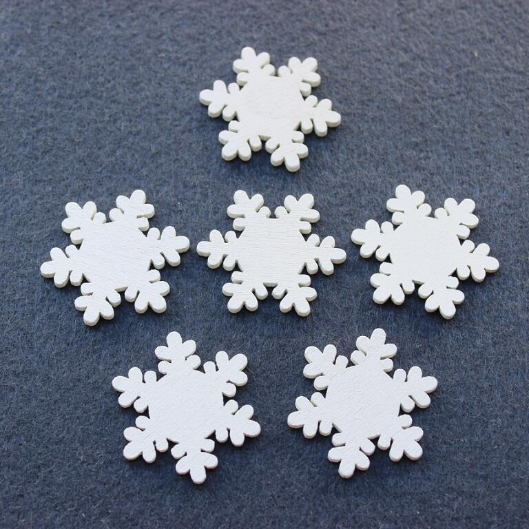 200pcs/lot white wood snowflake wooden Decorations Snow flower Blank DIY Craft Home Christmas Party Decor Free Shipping