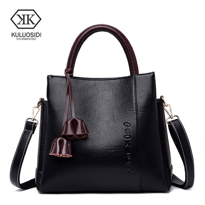 KULUOSIDI célèbre marque décontracté sac fourre-tout femmes en cuir sac à main gland femme sacs à bandoulière grand solide femmes Messenger sacs