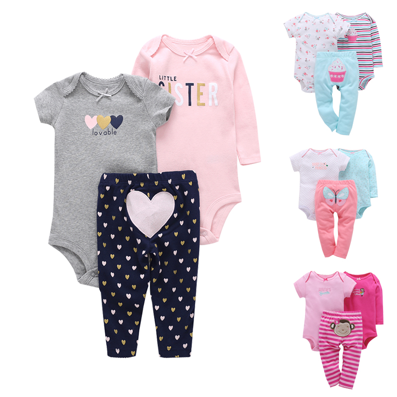 New Born Baby Clothing Set 3 Pieces for 6M to 24M Long Sleeve Bodysuit+Short Sleeve Bodysuit+Pants Suit soft cotton