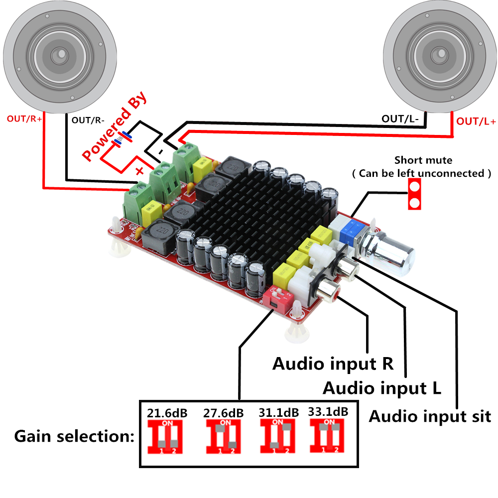 TDA7498 2x100W Digital Power Amplifier Board Audio Amplifier Class D Dual Audio Stereo DC 14-34V XH-M510TDA7498 2x100W Digital Power Amplifier Board Audio Amplifier Class D Dual Audio Stereo DC 14-34V XH-M510