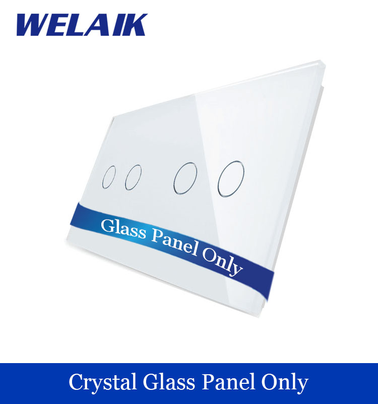 WELAIK  Touch Switch DIY Parts  Glass Panel Only of Wall Light Switch Black White Crystal Glass Panel 2Gang+2Gang  A2922W/B1 2017 free shipping smart wall switch crystal glass panel switch us 2 gang remote control touch switch wall light switch for led