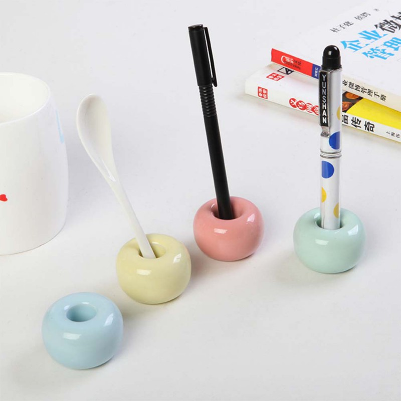 Candy Color Bathroom Shower Tooth Brush Stand Shelf Base Frame Storage Rack Multifunction Novel Donut Ceramic Toothbrush Holder image