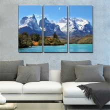 Office Painting for Wall Canvas Snow Mountain Lake Beauty Landscape Print Art Dining Room Giclee Decor