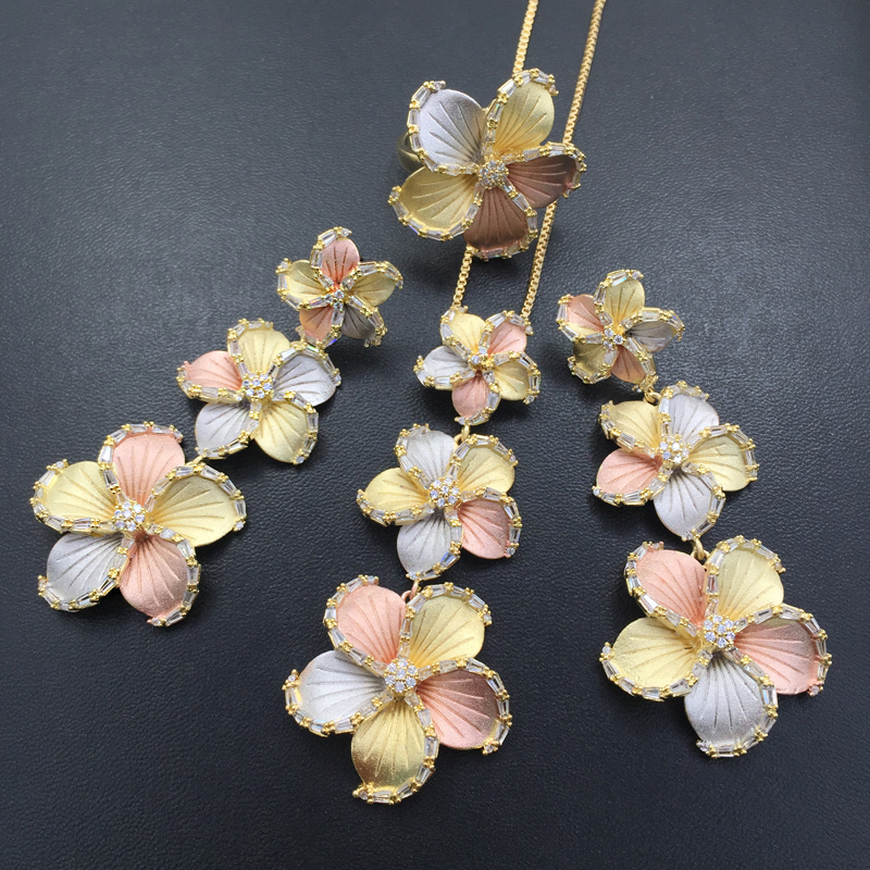 Lanyika Jewelry Set Long Super Gorgeous Flower Sandblasting Plated Necklace with Earrings and Ring Anniversary Bridal