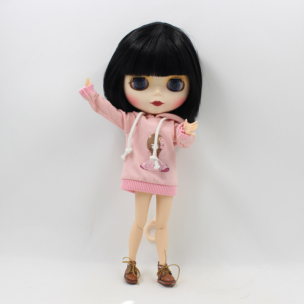 cute light pink dress with hat long beauty blythe
