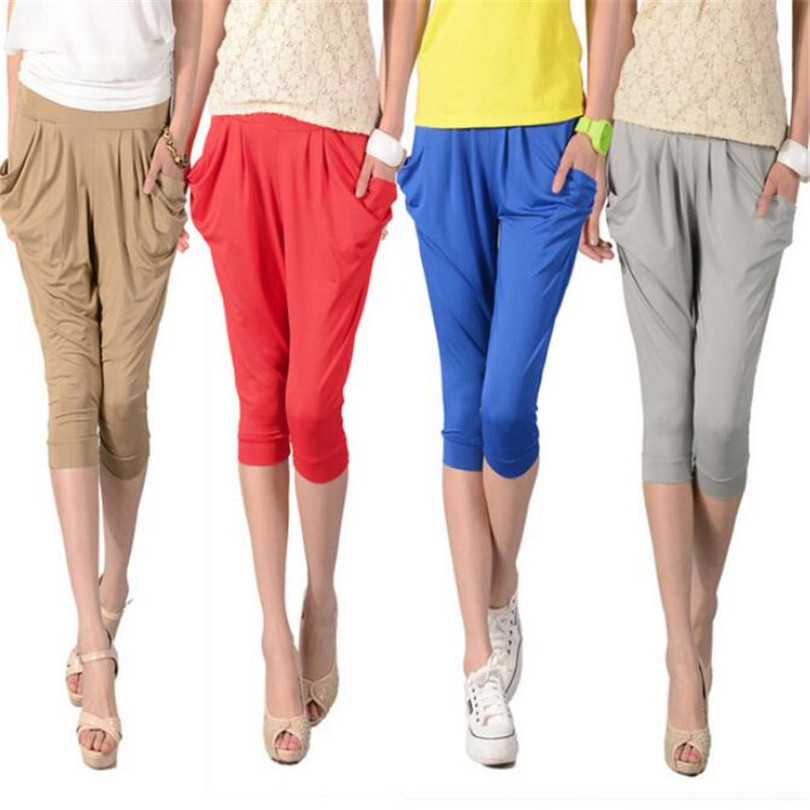INDJXND Candy Color Harem Pants Elastic Waist Pocket Pleated Women Loose Casual Summer Capris Pants Fashion Loose Seven Trousers