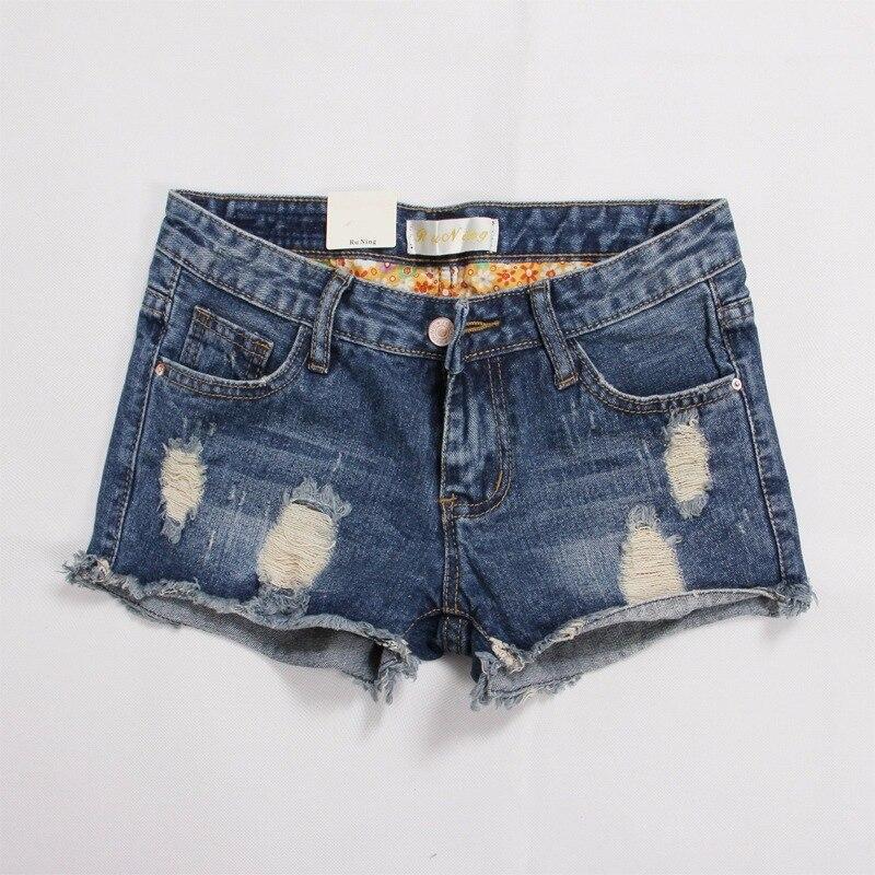Denim Shorts Jeans Mid-Waist Casual Plus-Size Womans Ladies New Hole