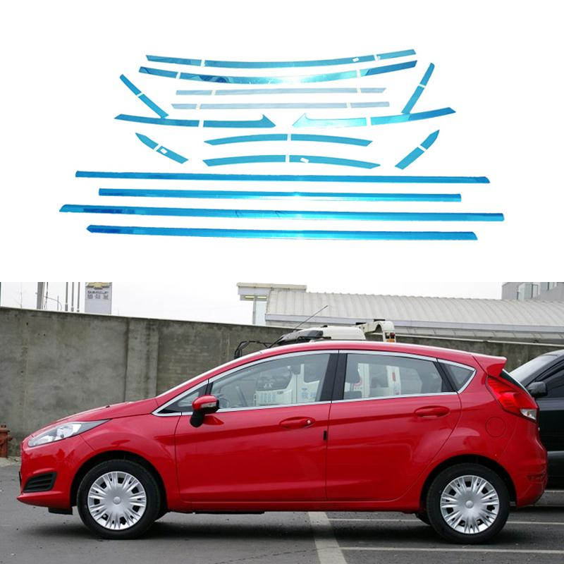 Full Window Trim Decoration Strips Stainless Steel Car Styling For Ford Fiesta Hatchback 2013 2014 2015 Auto Accessories 8-16 high quality stainless steel strips car window trim decoration accessories car styling for 2013 2015 ford ecosport 14 piece