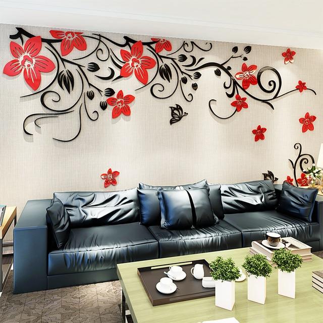 3D Wall Sticker Romantic Flower Sticker Living Room Wall Decals TV Background Decoration Maison Modern Wall Stickers Art Decals 3