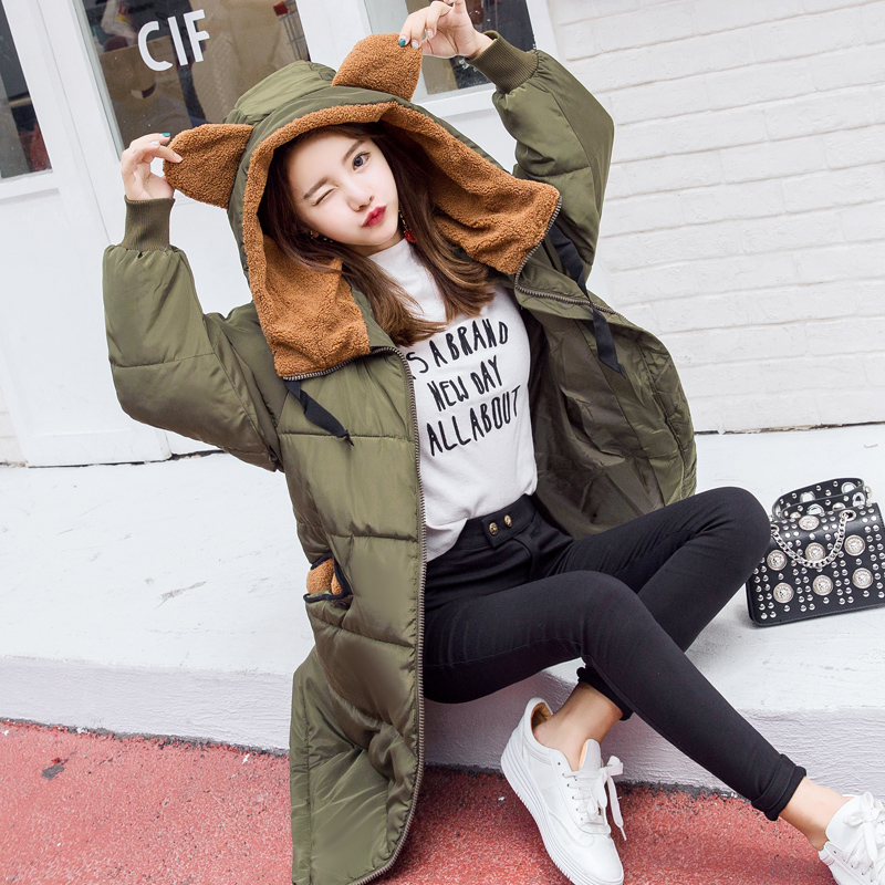 Pregnant women down jacket new winter feathers in the long section of Korean fashion large size loose jacket pregnant women dress new fashion korean version fall