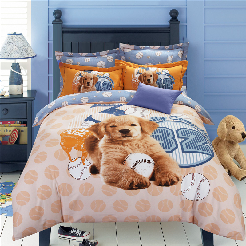 Aliexpress.com : Buy Dog Print Kids Bedding Set King Queen Size Children  Bed Sheet Doona Quilt Duvet Cover Cartoon Cotton Bedspread Bedroom Linen  4pc From ...