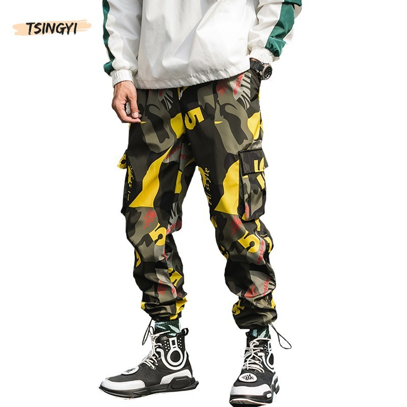 Tsingyi Camouflage Cargo Pants Men Streetwear Ankle-Length Pattern Joggers Loose Lightweight Red Blue Yellow Camo Pencil Pants