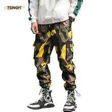 Tsingyi Camouflage Cargo Pants Men Streetwear Ankle-Length Pattern Joggers Loose Lightweight Red Blue Yellow Camo Pencil