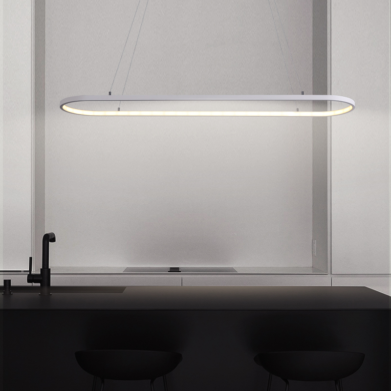 L600/900/1200mm Black or White Modern Led Pendant Lights For Dining Kitchen Room Bar Reataurant Aluminum Pendant Lamp Fixtures modern guard dining room pendant lights white black golden silver lamp