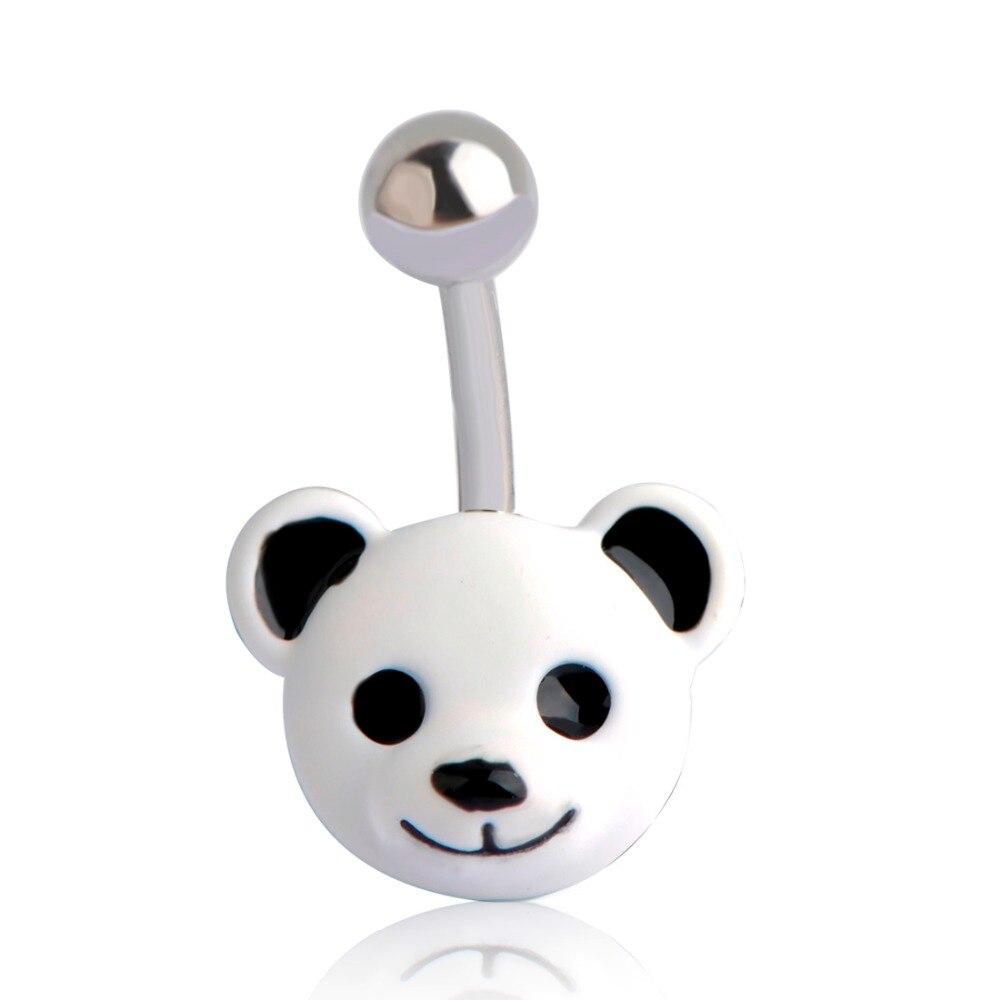 Blucome Enamel White Bear Navel Rings For Women Girls Stainless Steel Panda Animals Belly Button Rings Piercing Body Bijoux Bar