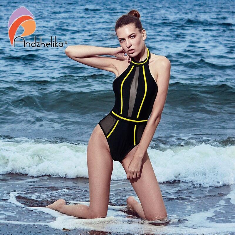 Andzhelika Sexy Einteiliges Badeanzug Mesh Patchwork Bademode Liebsten Mädchen Backless Bodysuit Sommer Badeanzug Monokini AK75064