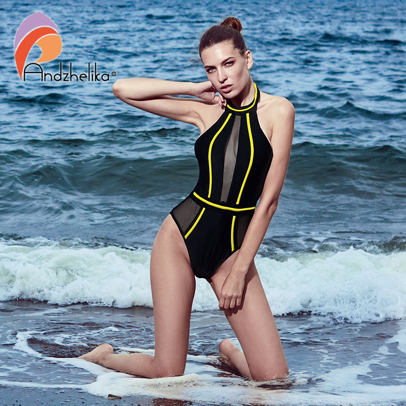 3573d5d2aadff Andzhelika Sexy One-Piece Swimsuit Monokini Summer Bathing Suit Mesh  Patchwork