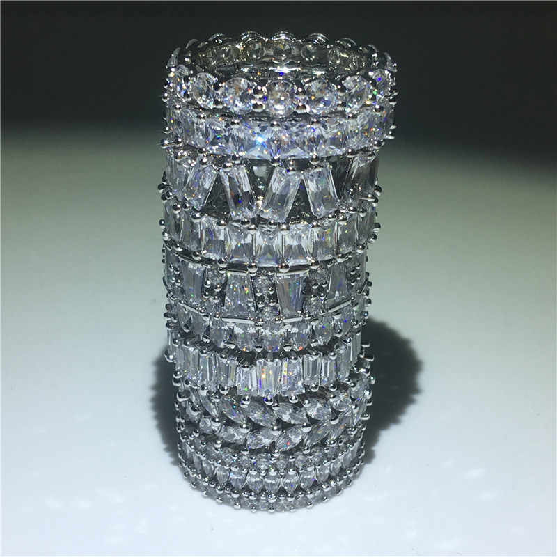 Choucong 9 รูปแบบนิรันดร์แหวน 5A zircon CZ 925 เงินสเตอร์ลิงแหวนหมั้นแหวนสำหรับผู้หญิง Bijoux ของขวัญ