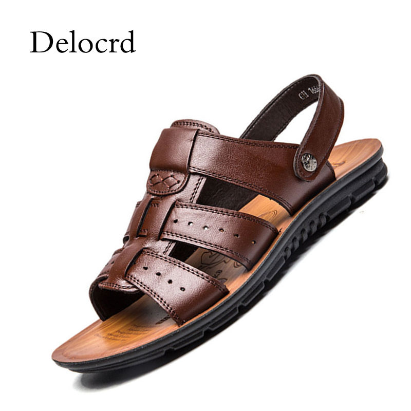 Men Sandals Slip On Black Brown Beach Shoes Plus Size New Summer 2018 Hand Sewing Men Shoes Breathable Casual Sandals Delocrd