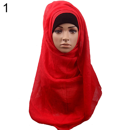 Fashion Women's Cotton Comfortable Muslim Hijab Long Scarf Shawl