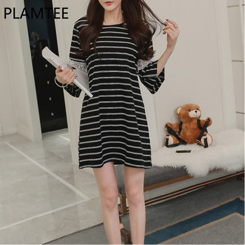 PLAMTEE Spring Stripe Breast-feeding Pregnant Women Mini Dress Fashion Loose Middle Sleeve Printing Moon Sets Women Clothing