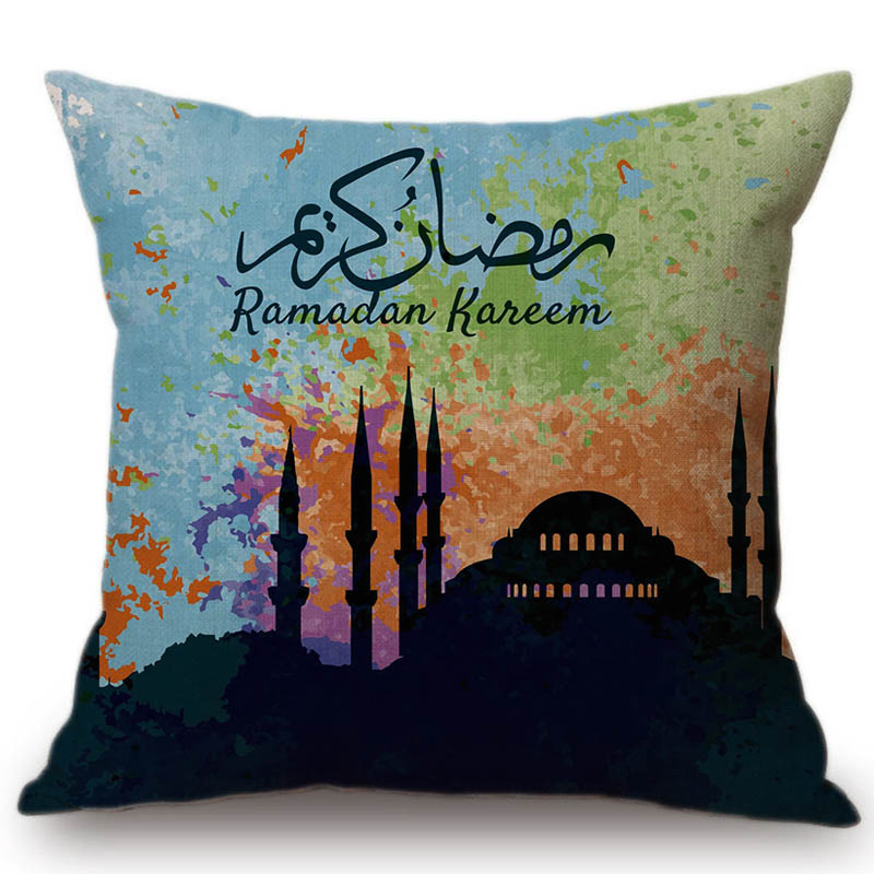 2018 New Muslim Ramadan Decoration Throw Pillow Case Mosque Dubai Middle East Home Decor Cotton Linen Cushion Cover 45x45cm