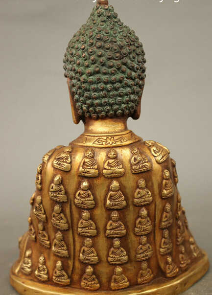 "SCY JP S0114 8.6 ""Tibet Bronze Gilt Budismo Amitabha Robe Sakyamuni Sakyamuni Buddha Statue"