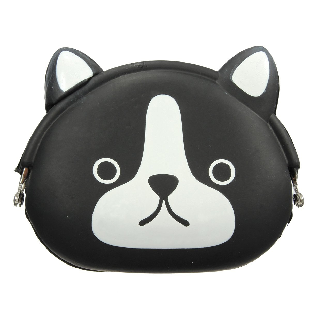 AFBC-Women Girls Wallet Kawaii Cute Cartoon Animal Silicone Jelly Coin Bag Purse Kids Gift Black dog