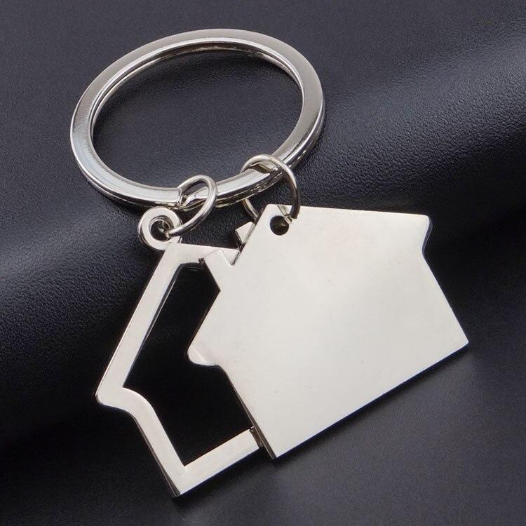 Вращающийся брелок домик, брелок для ключей, металлические аксессуары из цинкового сплава, трендовая подвеска для ключей, подарок компании с логотипом на заказ, 3 шт./ло - Цвет: Черный