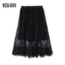 Spring Summer Women Skirt Sexy Lace Mesh Hollow Out Slim Bodycon Tight Pencil Elegant Transparent Black White Skirt D006(China)