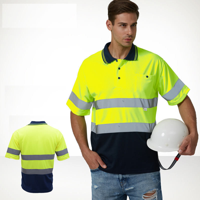 Men's High Visibility Shirt 2 Tone short sleeve safety reflective work shirt Summer Work Wearfree shipping button up two tone work shirt