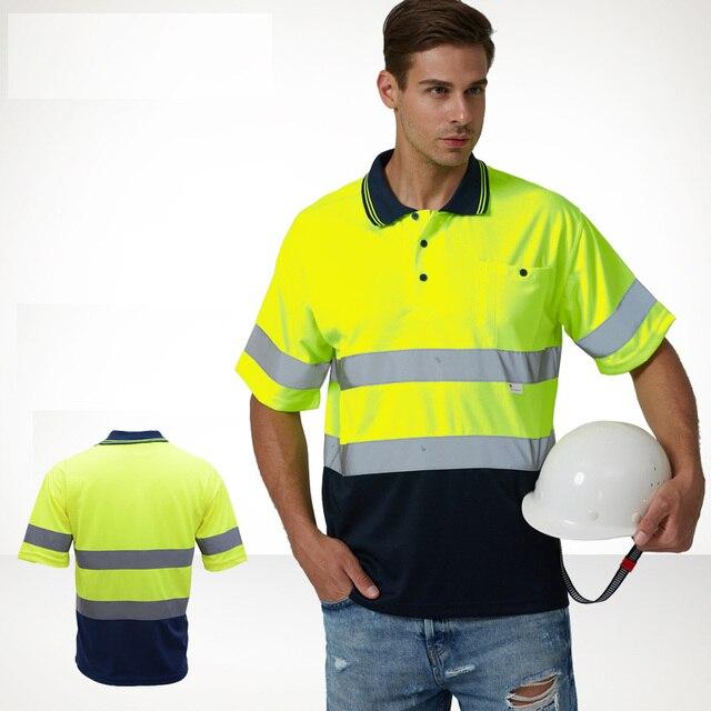 Mens High Visibility Shirt   2 Tone  short sleeve safety reflective work shirt  Summer  Work Wearfree shipping