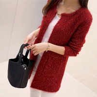 2016 New Arrivals Fashion Pocket Glitter Pattern Cardigans Female Sweaters Long Sleeve Knitted Slim Women Sweater